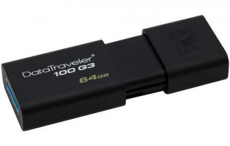 Kingston Technology DataTraveler 100 G3 64GB, 64 GB, 3.0 (3.1 Gen 1), USB-Anschluss Typ A, 40 MB/s, Dia, Schwarz