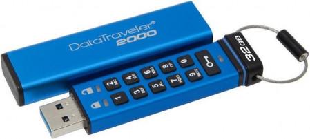 Kingston Technology DataTraveler 2000 32GB, 32 GB, 3.0 (3.1 Gen 1), USB-Anschluss Typ A, Schutzhulle, Passwortschutz, Blau