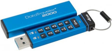 Kingston Technology DataTraveler 2000 4GB, 4 GB, 3.0 (3.1 Gen 1), USB-Anschluss Typ A, Schutzhulle, Passwortschutz, Blau