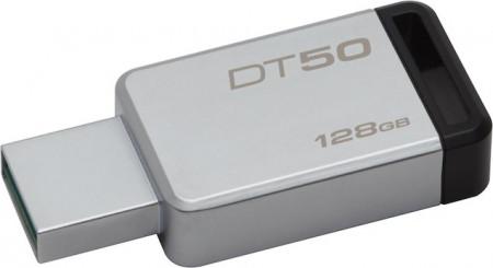 Kingston Technology DataTraveler 50 128GB, 128 GB, 3.0 (3.1 Gen 1), USB-Anschluss Typ A, Ohne Deckel, Schwarz, Silber
